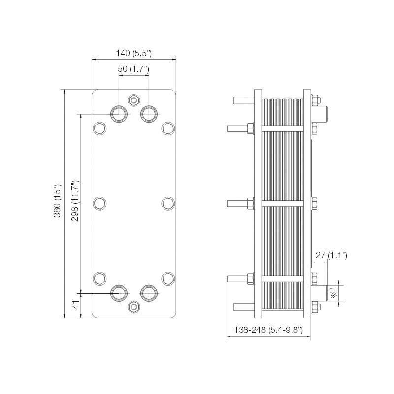 Poza Dimensiuni Schimbator de caldura in placi Alfa Laval T2-BFG 6 PL - 20 kW