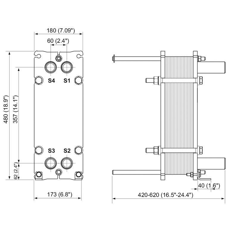 Poza Dimensiuni Schimbator de caldura in placi Alfa Laval M3-FG 55 PL - 350 kW