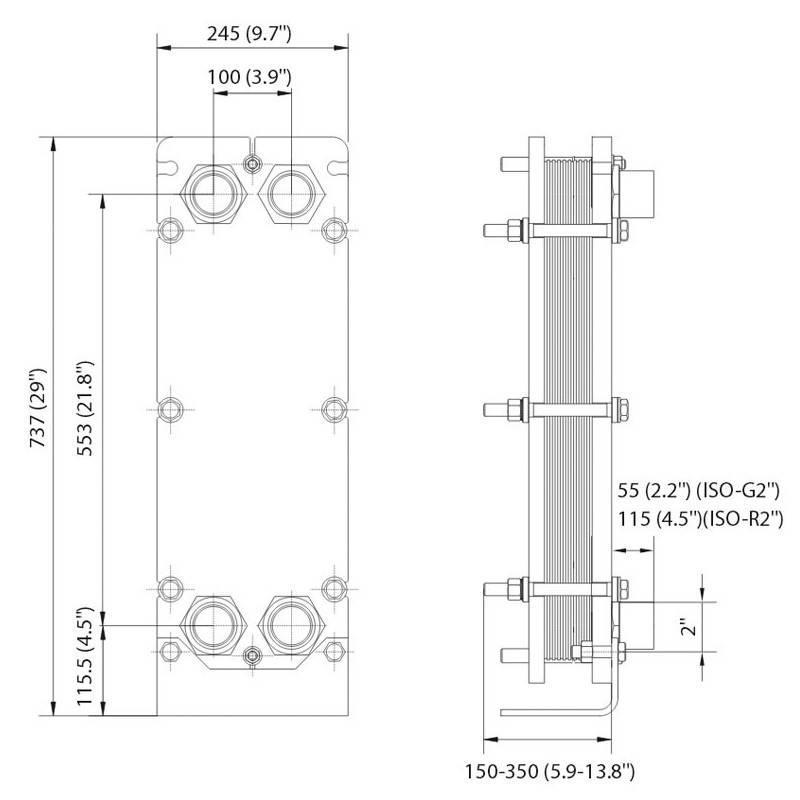 Poza Dimensiuni Schimbator de caldura in placi Alfa Laval T5-MFG 27 PL - 450 kW