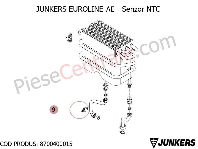 Poza Senzor NTC centrale termice Junkers Euroline AE, Bosch Gaz 3000W Midi