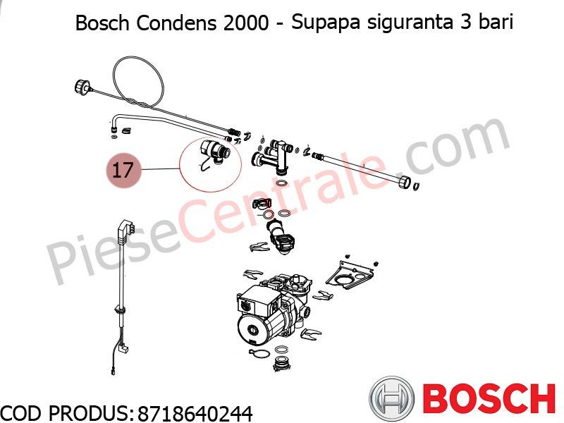 Poza Supapa de siguranta 3 bar centrala termica Bosch Condens 2000