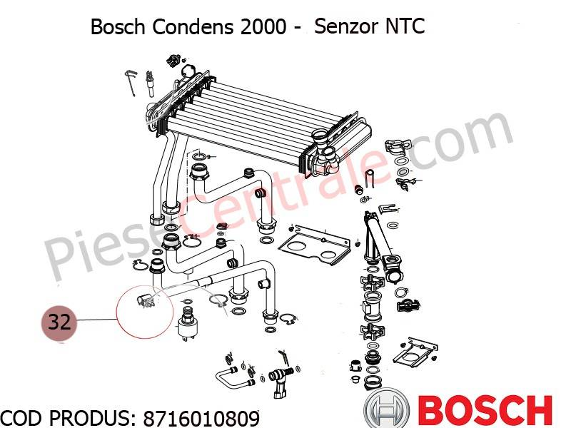 Poza Senzor NTC centrala termica Bosch Condens 2000, Gaz 4000W, Buderus Logamax Plus, Logamax U042