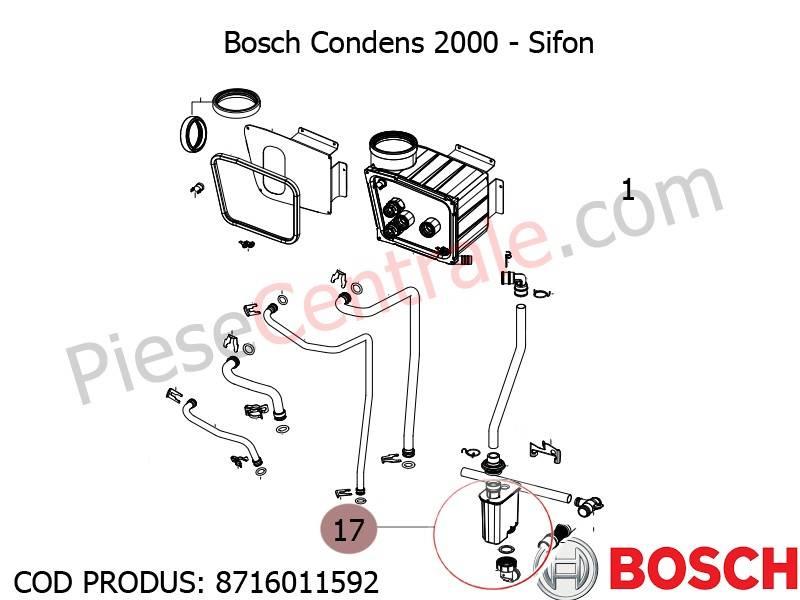 Poza Sifon centrala termica Bosch Condens 2000, Buderus Logamax Plus