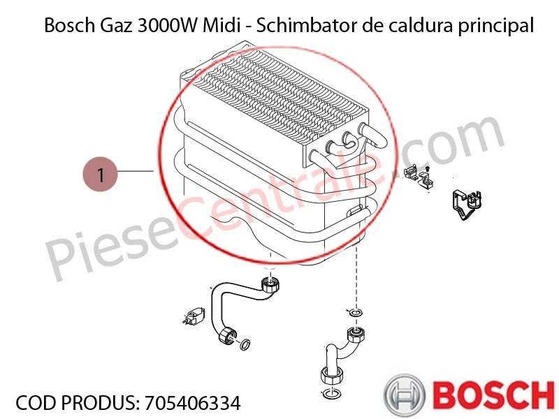 Poza Schimbator caldura centrala termica Bosch Gaz 3000W Midi