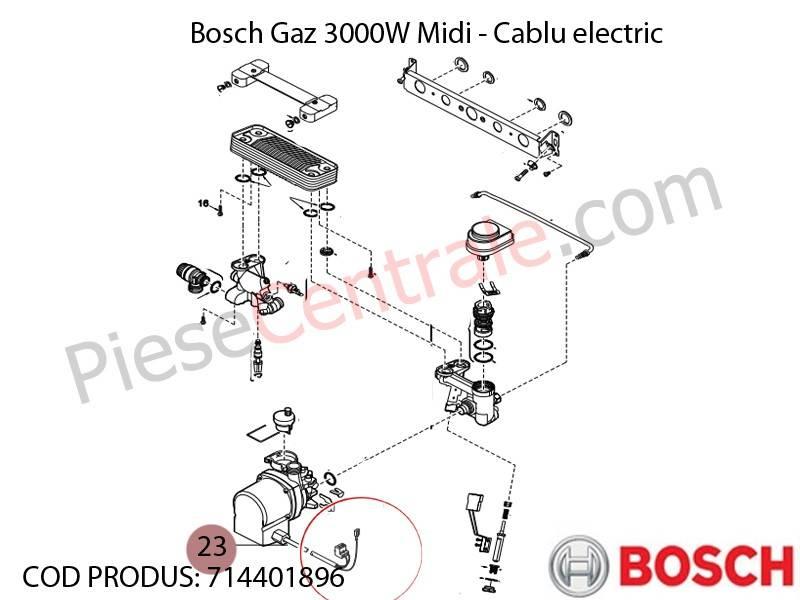 Poza Cablu electric centrala termica Bosch Gaz 3000W Midi