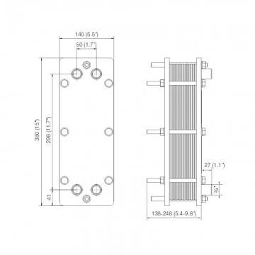 Poza Dimensiuni Schimbator de caldura in placi Alfa Laval T2-BFG 18 PL - 90 kW