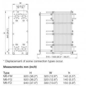 Poza Dimensiuni Schimbator de caldura in placi Alfa Laval M6-MFG 27 PL - 950 kW